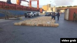 The cocaine haul is shown in the port of Cape Verde after being seized by the authorities in February 2019.