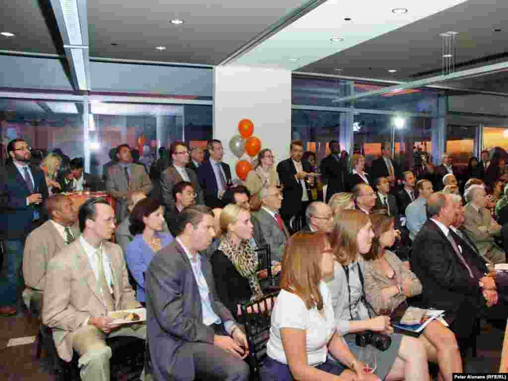 View of the audience listening to Walter Isaacson's keynote speech at RFE's 60th anniversary reception.