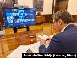 Predsednik Srbije Aleksandar Vučić na video samitu lidera Zapadnog Balkana