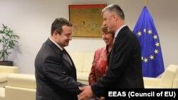 Ivica Dačić, Hašim Tači i Ketrin Ešton na jednom od prethodnih susreta u Briselu