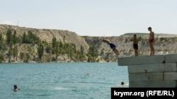 Ukraine, Crimea - the lake of the quarry Marble. Tags leisure, swimming, breakage, 12Jul2017
