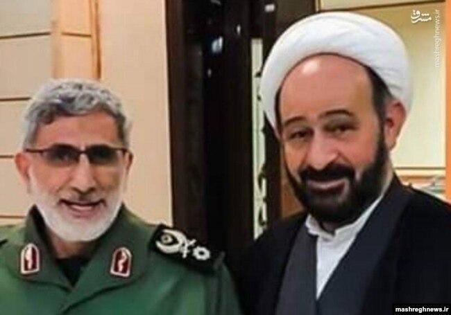 تصویری که مشرقنیوز از محمد کوثرانی در کنار اسماعیل قاآنی فرمانده کنونی نیروی قدس سپله منتشر کرده است