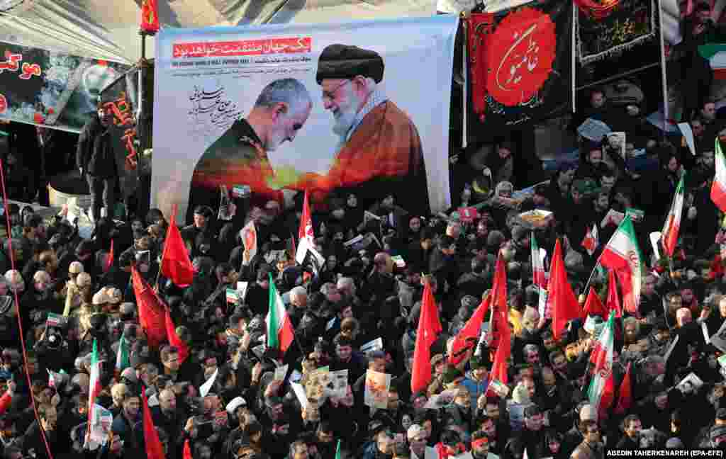 "Mourners heard from the slain Quds Force commander's daughter, Zeinab Soleimani. She told the crowds that Iran would avenge her father's death, saying the assassination would bring a ""dark day"" for the United States."