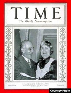 Обложка журнала Time с послом Дэвисом с супругой