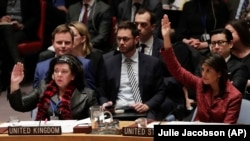U.S. -- Karen Pierce (L), British Ambassador to the United Nations, and Nikki Haley, United States Ambassador to the United Nations, vote in favor of a resolution for an independent investigation on the use of chemical weapons in Syria, New York, April 10