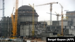 The construction site of the first Belarusian nuclear power plant outside the town of Astravets, northwest of Minsk