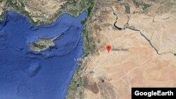 Хомс провинциясында орналасқан Сирия әскери-әуе күштерінің Т-4 әуе базасының картадағы орны .