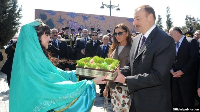 Azerbaijani President Ilham Aliyev and his wife Mehriban Aliyeva attend Norouz festivities in Baku on March 20.