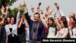 Лідер групи «Океан Ельзи» Святослав Вакарчук під час презентації політичної партії «Голос». Київ, 16 червня 2019 року