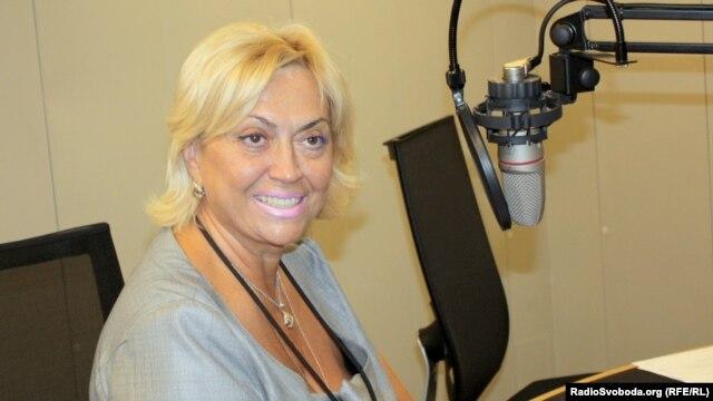 Олександра Кужель у празькій студії Радіо Свобода