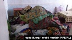 Дом одинокой матери Тухтагуль Турдиевой после обыска силовиков.