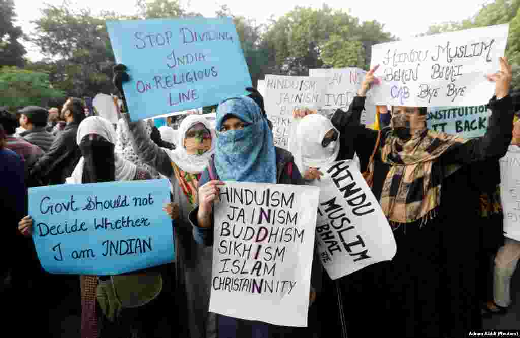 Protesters in New Delhi on December 14.