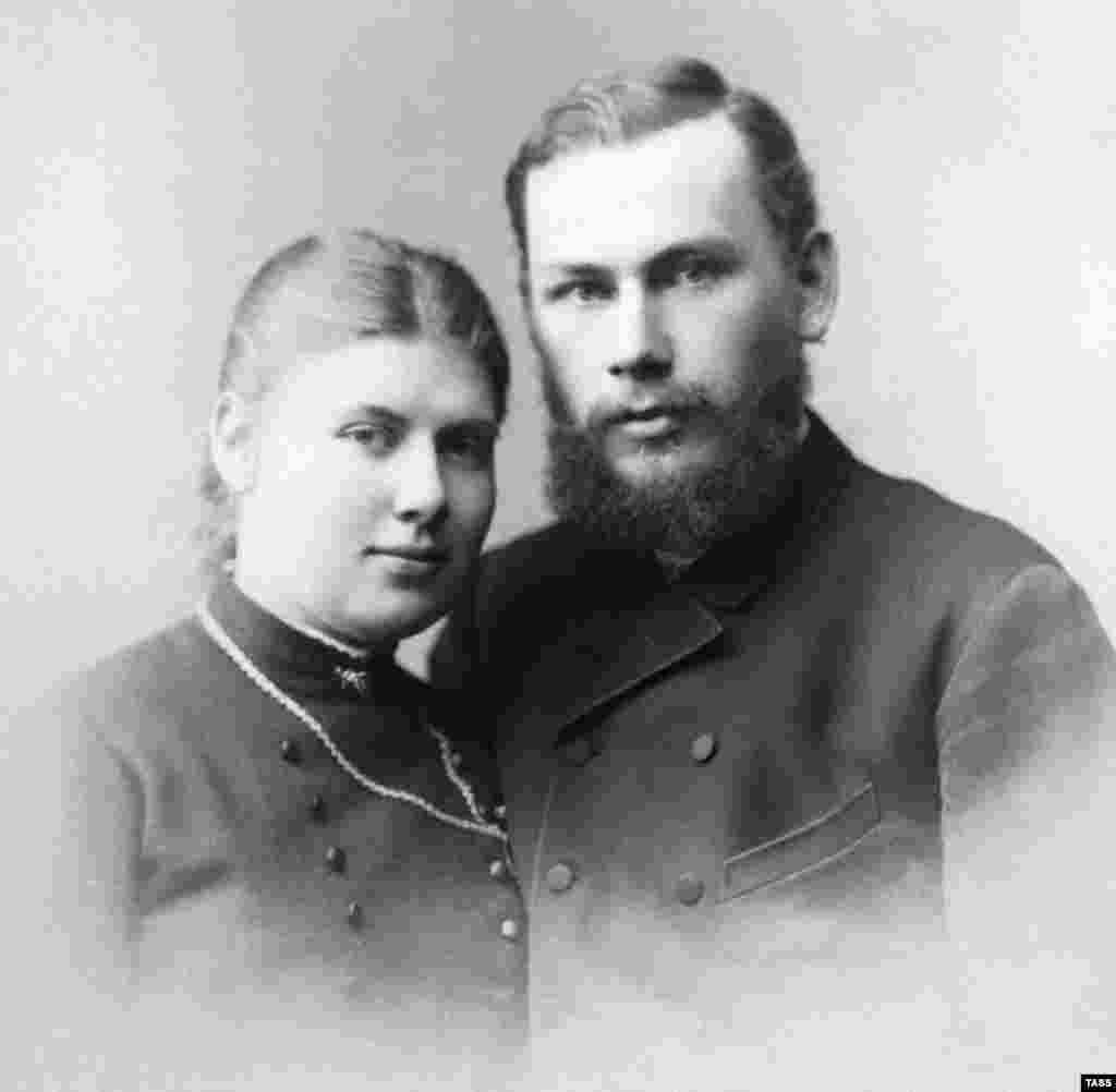 Tolstoy with his wife, Sophia, whom he married in 1862. The couple had 13 children -- eight of whom survived to adulthood. But the marriage was not a happy one. The day before their wedding, Tolstoy inexplicably gave Sophia a notebook detailing his sexual experiences with peasant women.