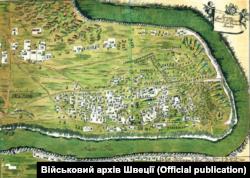 Карта-схема табору короля Карла ХІІ у Бендерах. 1711 рік. У той час у Бендерах перебував і гетьман Пилип Орлик