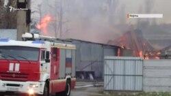 Пожар на мебельном складе в Керчи (видео)