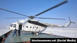 Вертолет «Универсал-Авиа» на палубе судна MYSTERY K. Азовское море, 2012 год