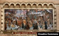 Отъезд Суворова в Итальянский поход. Мозаика работы худ. М.И.Зощенко, 1904