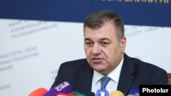 Minister of Transport, Communications and Information Technologies Ashot Hakobyan at a press conference in Yerevan. 04Sept.,2018