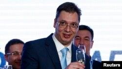 Սերբիայի առաջադեմ կուսակցության առաջնորդ Ալեքսանդր Վուչիչը տոնում է իր կուսակցության հաղթանակը,16-ը մարտի, 2014