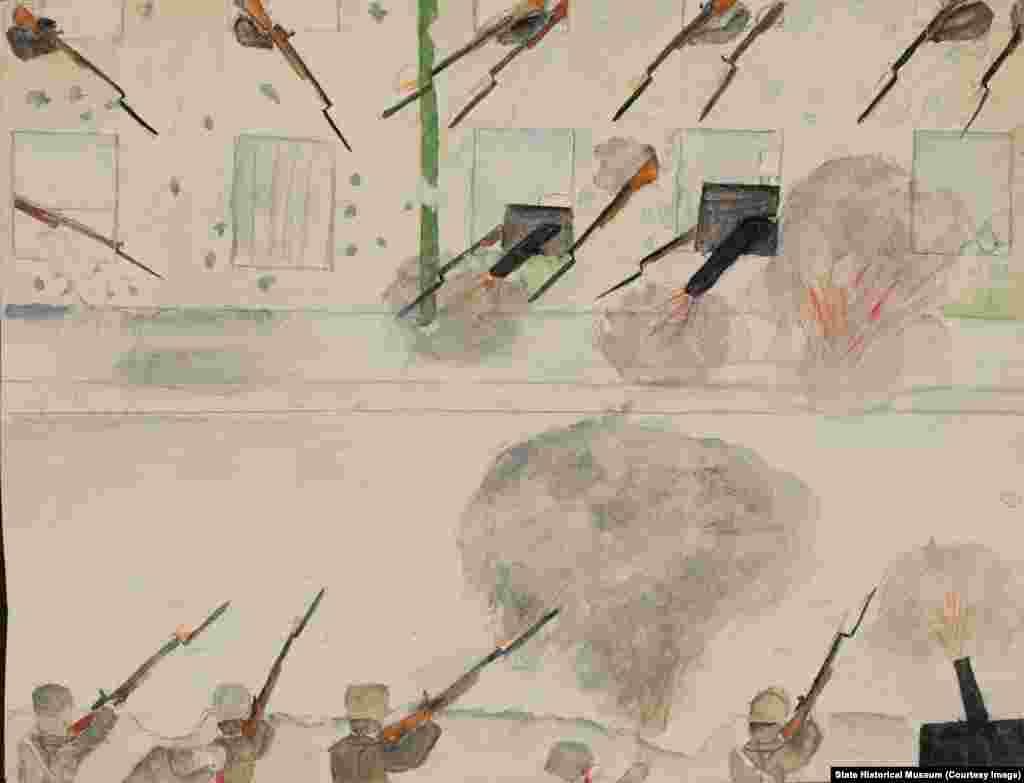 """Помимо рисунков, Воронов собирал письменные размышления своих учеников о событиях в стране. Неизвестный автор. """"Перестрелка на улице""""."""