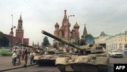 Танки на Красной площади в Москве, 19 августа 1991