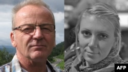 The freed hostages are Danish citizen Poul Hagen Thisted (left) and U.S. woman Jessica Buchanan