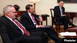 Armenia -- The U.S., Russian and French co-chairs of the OSCE Minsk Group hold talks in Yerevan, 9Feb2011.