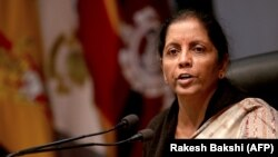 Indian Defense Minister Nirmala Sitharaman briefs the media about militant attack at the Sunjwan army camp in Jammu on February 12.