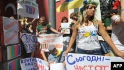 На акции против цензуры в Киеве, 26 августа 2010