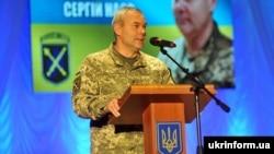 Командующий Объединенных сил Сергей Наев во время торжеств по случаю Дня Вооруженных сил Украины. Северодонецк, Луганская область, 5 декабря 2018 года