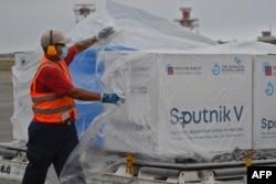 """Прибытие груза с первым компонентом вакцины """"Спутник V"""" в Венесуэлу. Март 2021 года"""