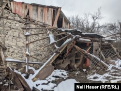 The partly destroyed home of Vorlik, a 72-year-old resident of Davit Bek, in Armenia, near the border with Azerbaijan.