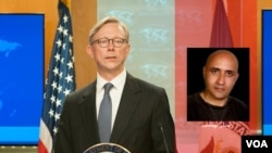 A video grab showing Brian Hook speaking about Iranian blogger Sattar Beheshti who was killed in police custody in 2012.