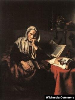 Нікалас Мас, «Старая жанчына дрэмле» (1656)