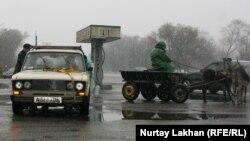 Участники флешмоба в селе Абат Алматинской области по поводу дефицита и подорожания бензина на телеге, запряженной двумя ослами, отбуксировали «Жигули». Иллюстративное фото.
