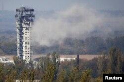 Украинский флаг на авиадиспетчерской башне