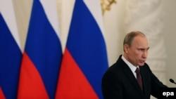 Vladimir Putin gjatë adresimit, 18 mars 2014