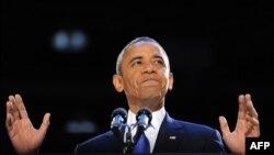 Барак Обама обращается к своим сторонникам в Чикаго 6 ноября