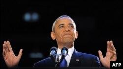 Барак Обама во время выступления перед своими сторонниками