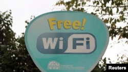 Turkey -- A sign advertising free Wi-Fi zone is seen at the Sultanhamet area of Istanbul, Turkey, in this September 30, 2010 file photo.