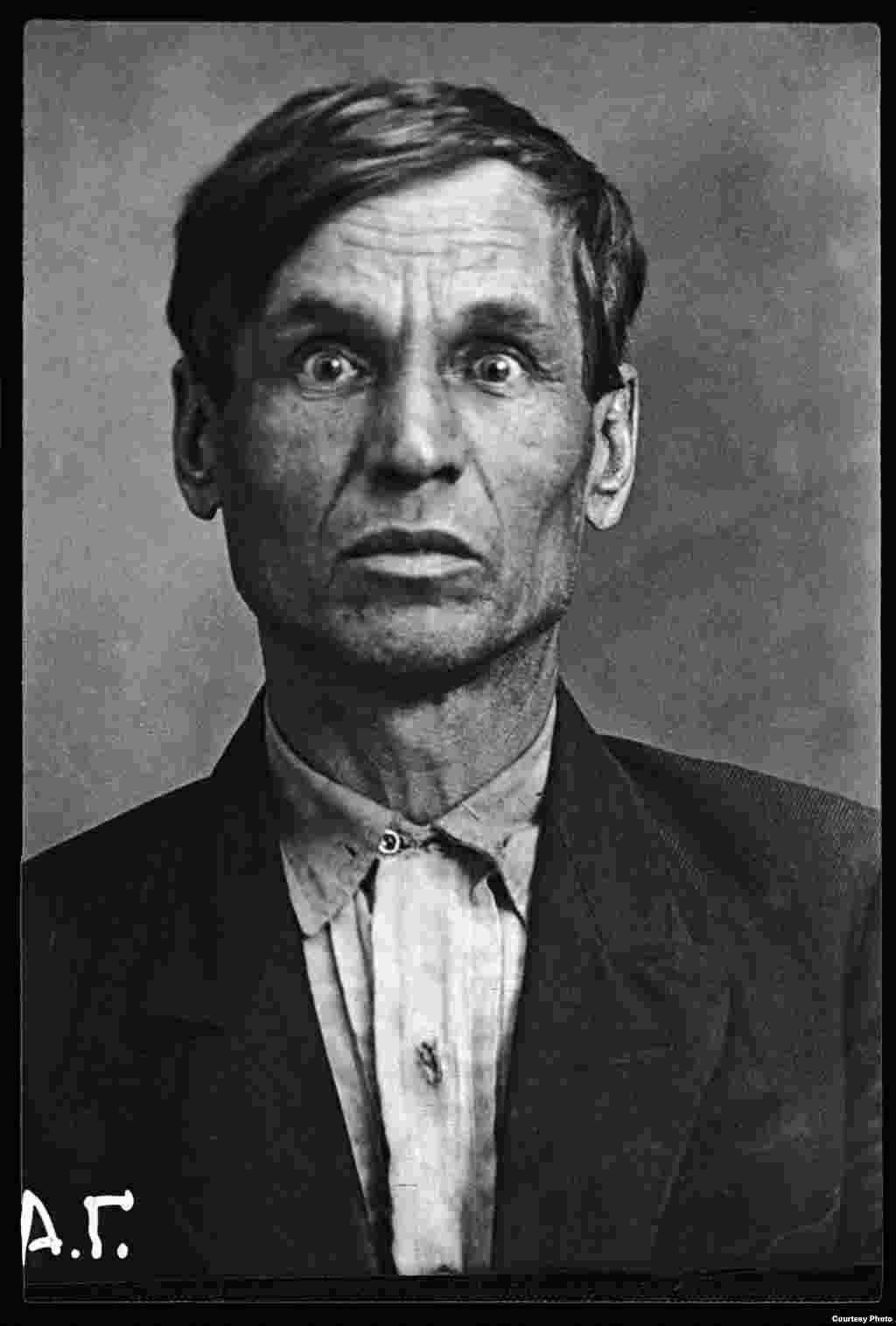 Aleksei Zheltikov: Russian, born 1890, locksmith at the Moscow Metro workshops. Shot on November 1, 1937.