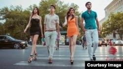 Azerbaijan. Baku. Firfira. movement. pedestrian podium