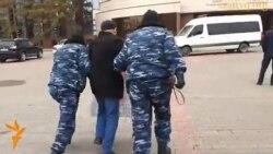 Арест протестующего у акимата