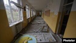 Nagorno-Karabakh - A school in Stepanakert damaged by shelling, October 6, 2020.