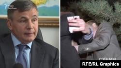 Начальник УДО Валерій Гелетей та скрин-шот із відео нападу на знімальну групу програми «Схеми» співробітниками УДО