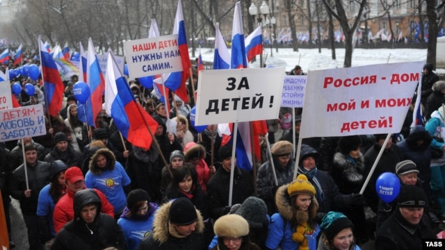 "Organizers of the March 2 rally in Moscow called it an action ""to protect children."""