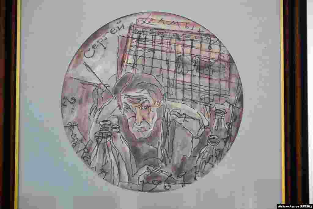 Сергей Калмыков создал около тридцати автопортретов. Последний – за два месяца до смерти (на фото). Хотя художник умер в психиатрической больнице от истощения, куда попал за месяц до смерти, ему при жизни ни разу не ставили психиатрического диагноза. Уже после смерти Сергея Калмыкова его творчеством заинтересовался врач-психиатр Виктор Каган. Три месяца он изучал в Государственном архиве Казахстана наследие Калмыкова (дневники, записки) и увидел развитие болезни. Позже свои наблюдения он обобщил в публикации «Амур на носороге» (по названию одной из картин Калмыкова).