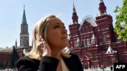 France's far-right Front National party leader Marine Le Pen visits Moscow in May 2015.