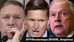 Trumpova imenovanja, Mike Pompeo(L), Michael Flynn(S) i Jeff Sessions (D)