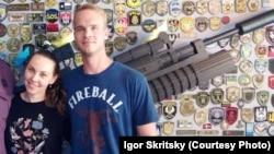 U.S. Army veteran Craig Lang with his Ukrainian fiancée Anna Osipovich in Kyiv (file photo)